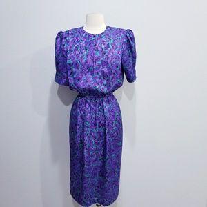 Vintage 80's retro print dress petite